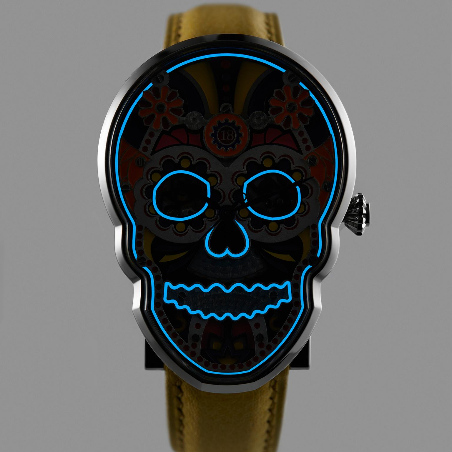 Fiona Kruger's Celebration Skull watch lights up in the dark
