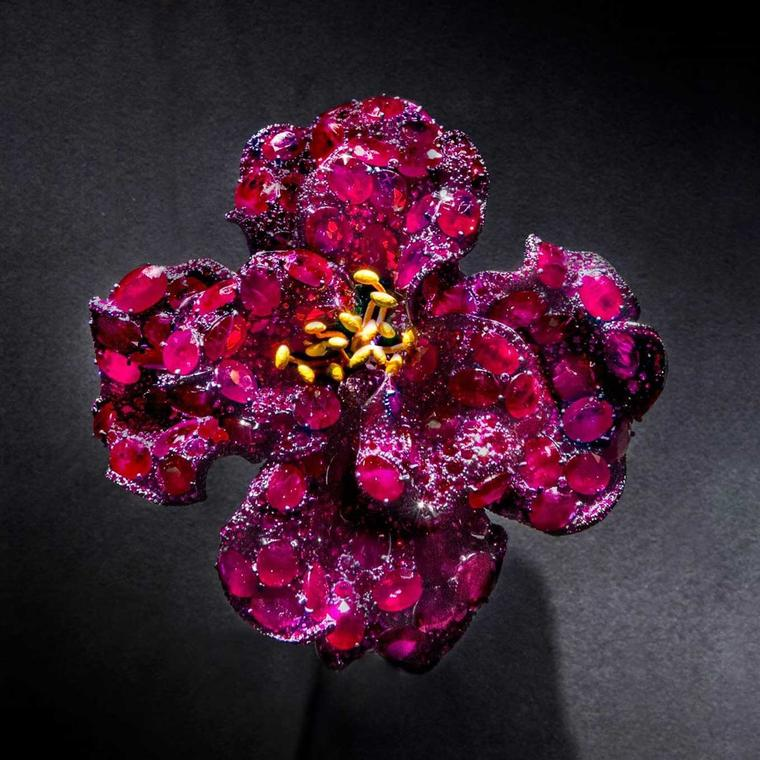 Cindy Chao Black Label Masterpiece 2018 award winning ruby Peony brooch