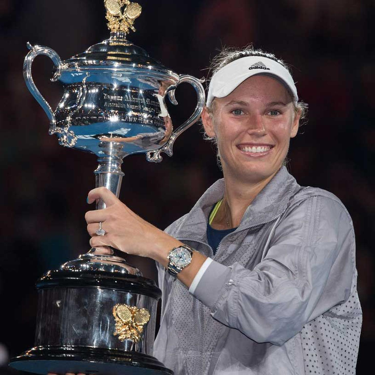 Caroline Wozniacki with the Australian Open womens cup