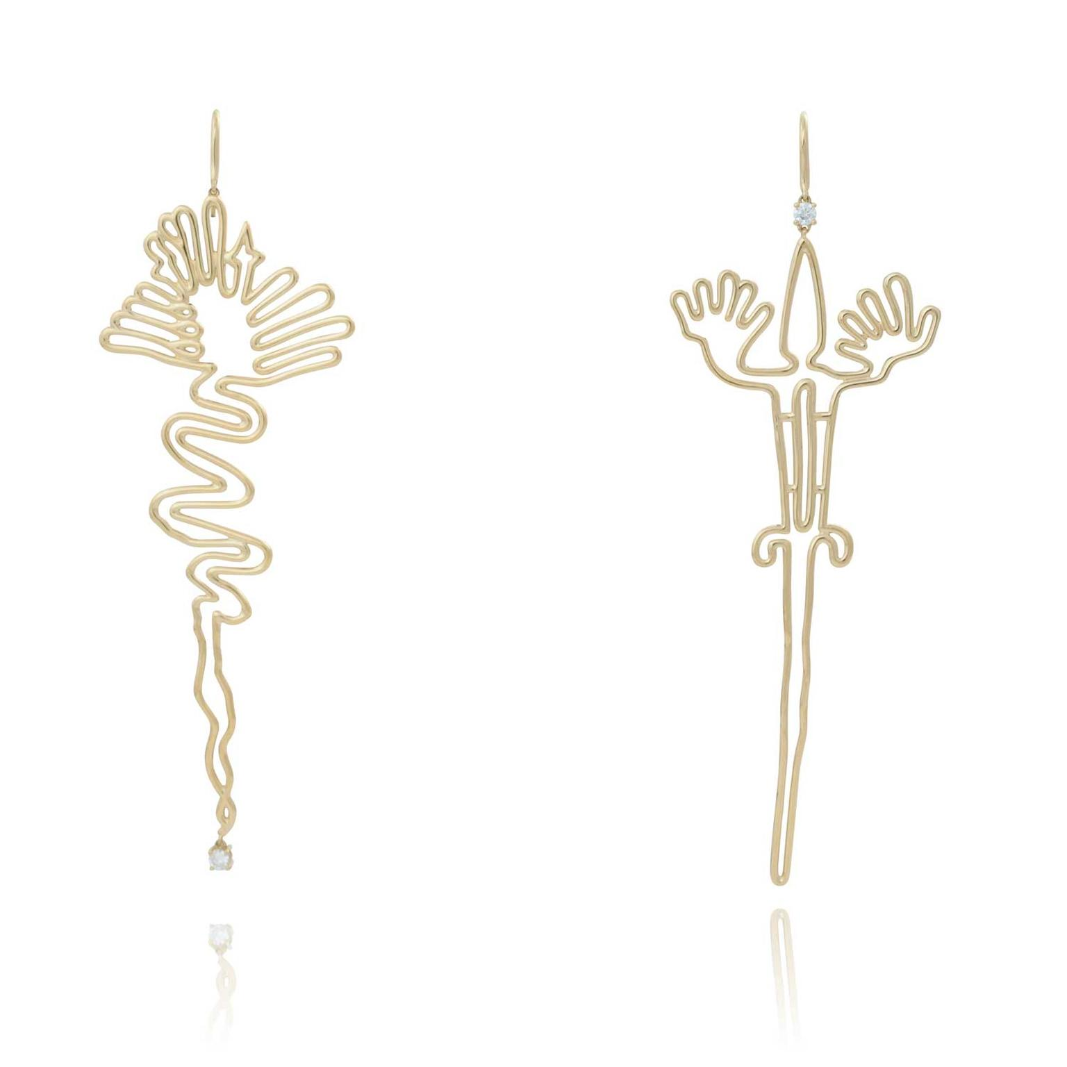 Lydia Courteille asymmetric Nazca earrings
