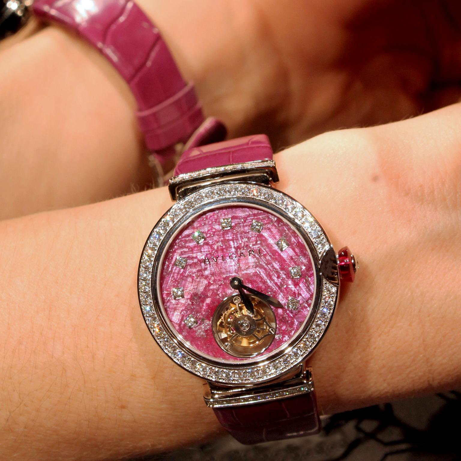 Bulgari LVCEA Tourbillon with ruby dial watch as seen at Baselworld