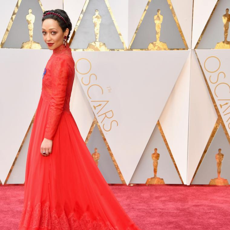 Ruth Negga on the Oscars red carpet in ruby Irene Neuwirth jewels