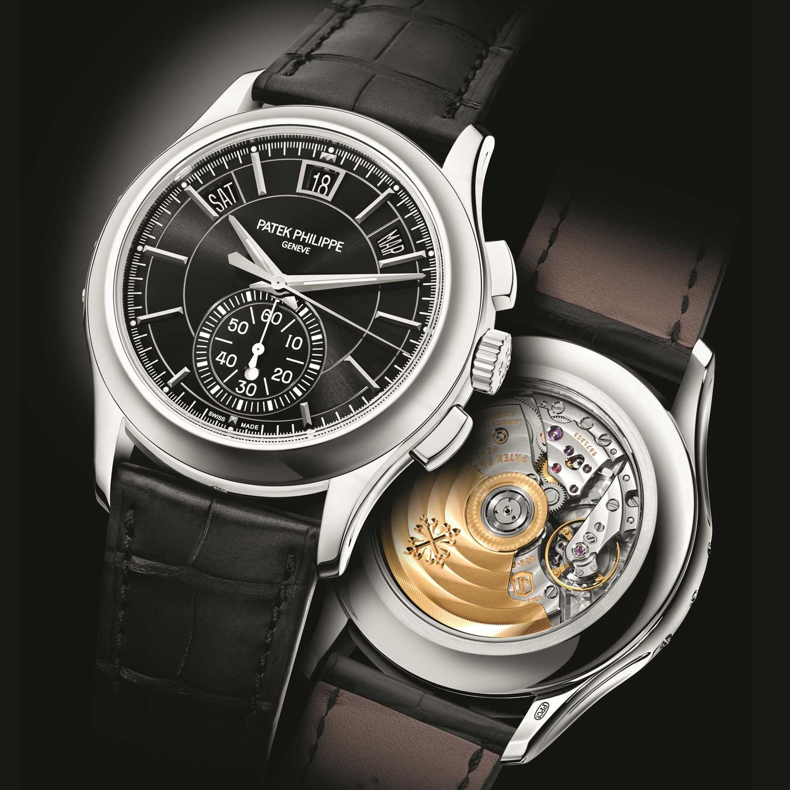 Patek Philippe Annual Calendar Chronograph 5905P black dial front and back