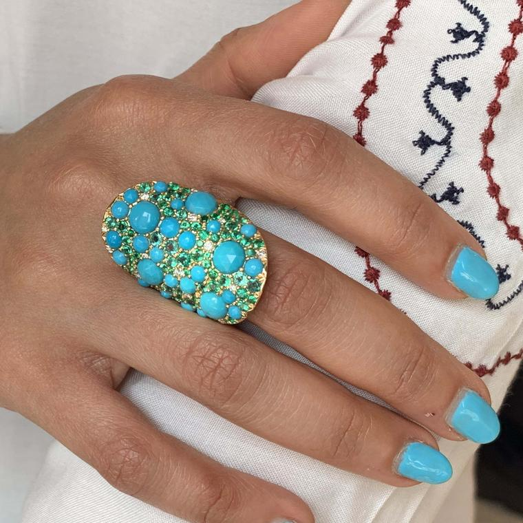 Turquoise and emerald ring from Robinson Pelham