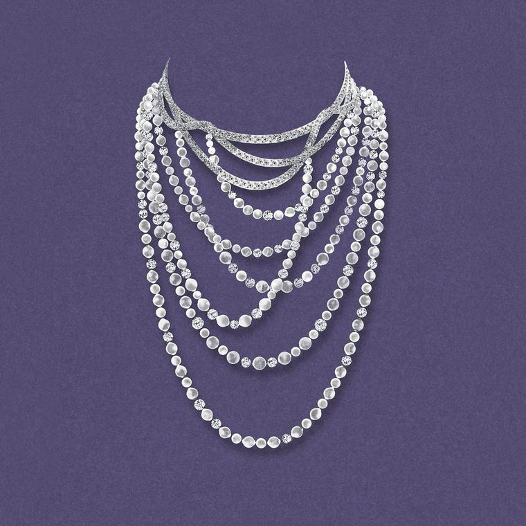 Tiffany Masterpieces Ribbons necklace set with black South Sea pearls and diamonds