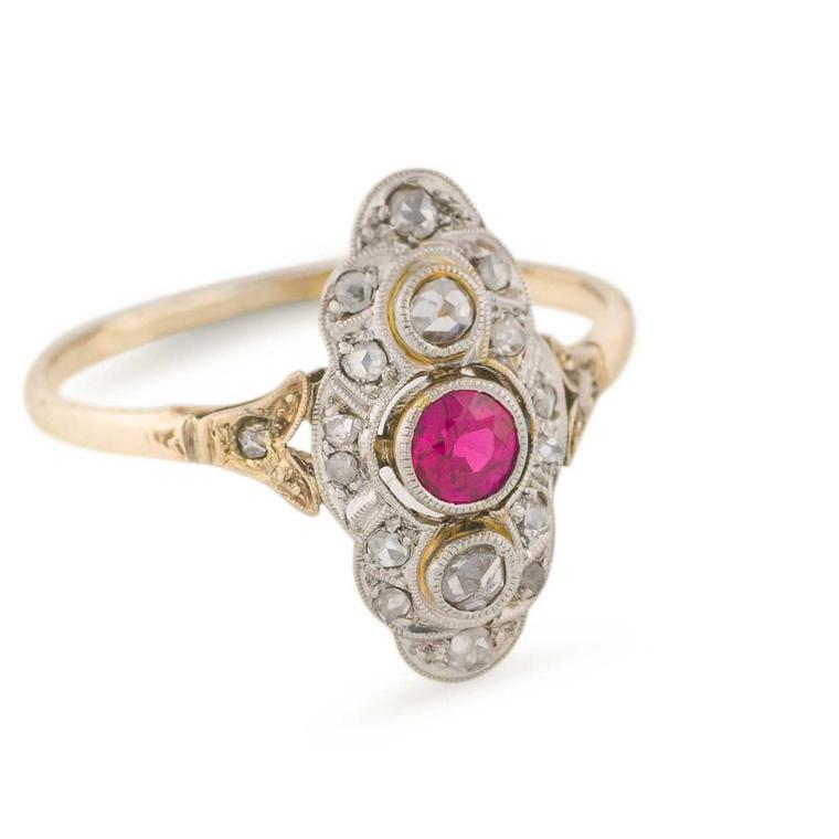Trademark Antiques platinum-over-gold diamond and ruby ring