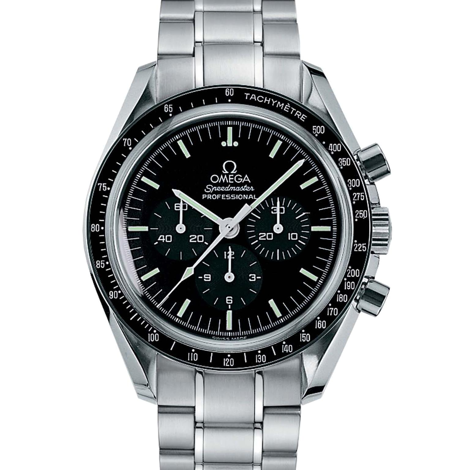 The Omega watches Speedmaster Professional was the first timepiece to accompany astronaut Buzz Aldrin on his epic Moon walk in July 1969. The 42mm stainless steel chronograph - known as the Moonwatch - is immediately recognisable with its black dial, tach