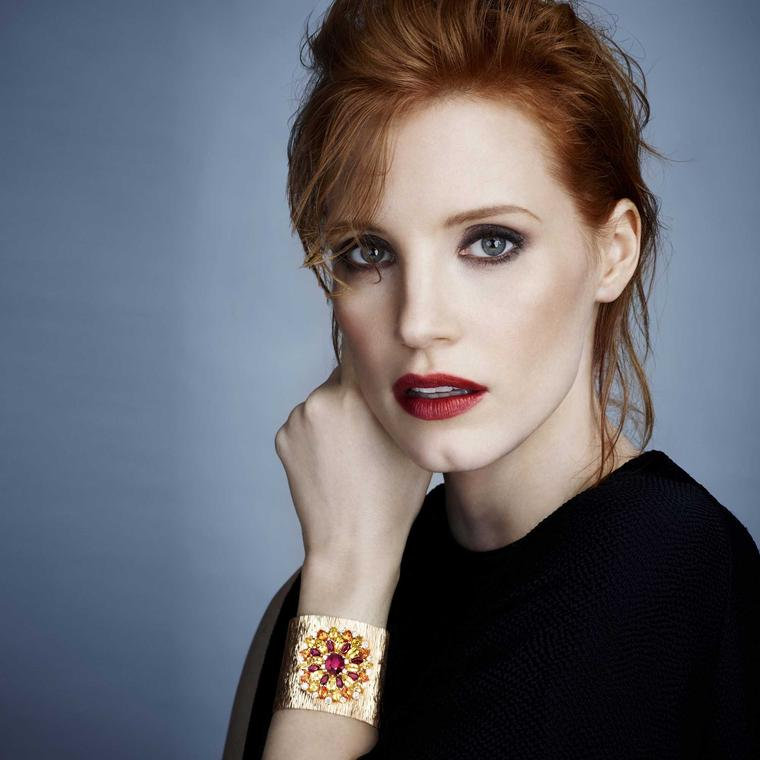 Piaget Secrets and Lights cuff on Jessica Chastain