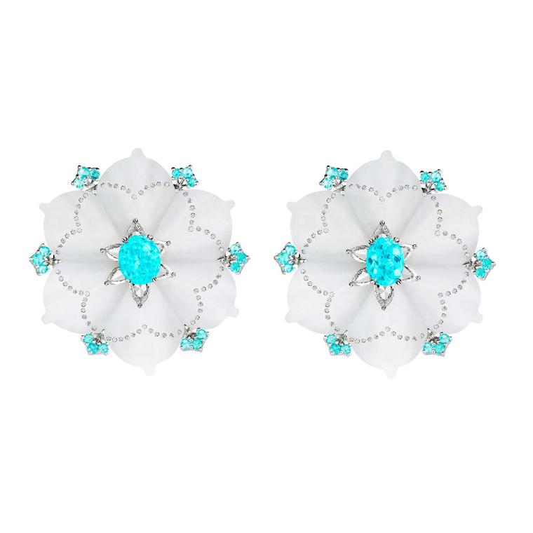 Boghossian white jade and Paraiba tourmaline earrings