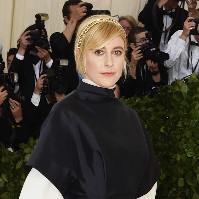 Greta Gerwig at the Met Gala 2018 Tiffany Hands necklace worn on head designed by Jean Schlumberger