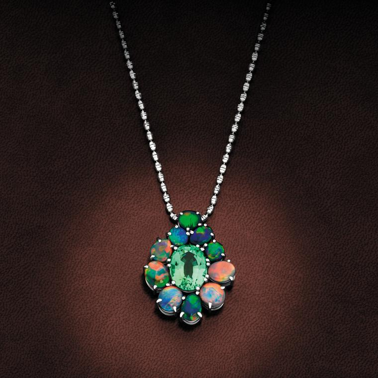 Giulians tourmaline and black opal pendant