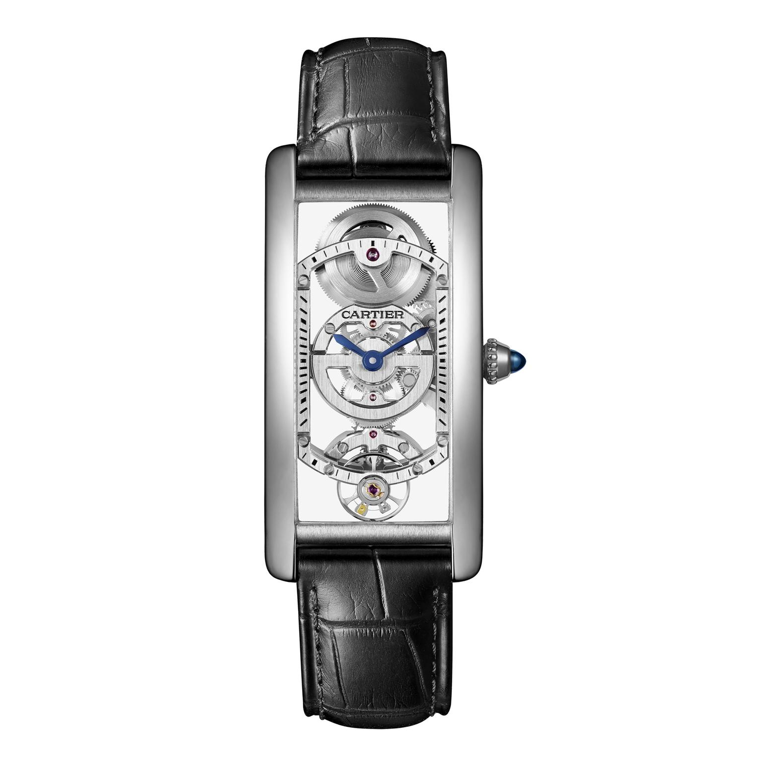 Cartier Tank Cintrée Skeleton platinum watch