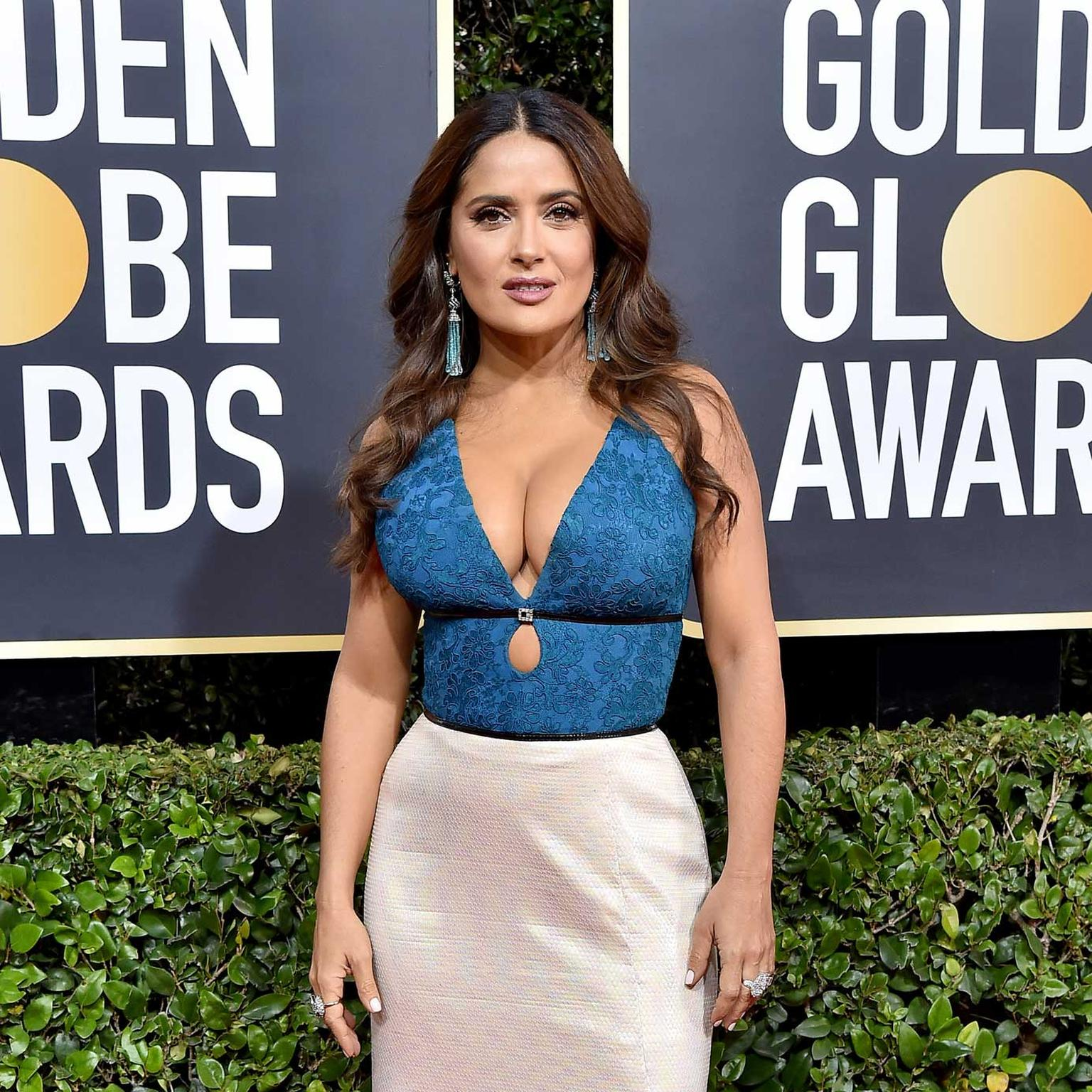 Salma Hayek Golden Globes Chopard jewels