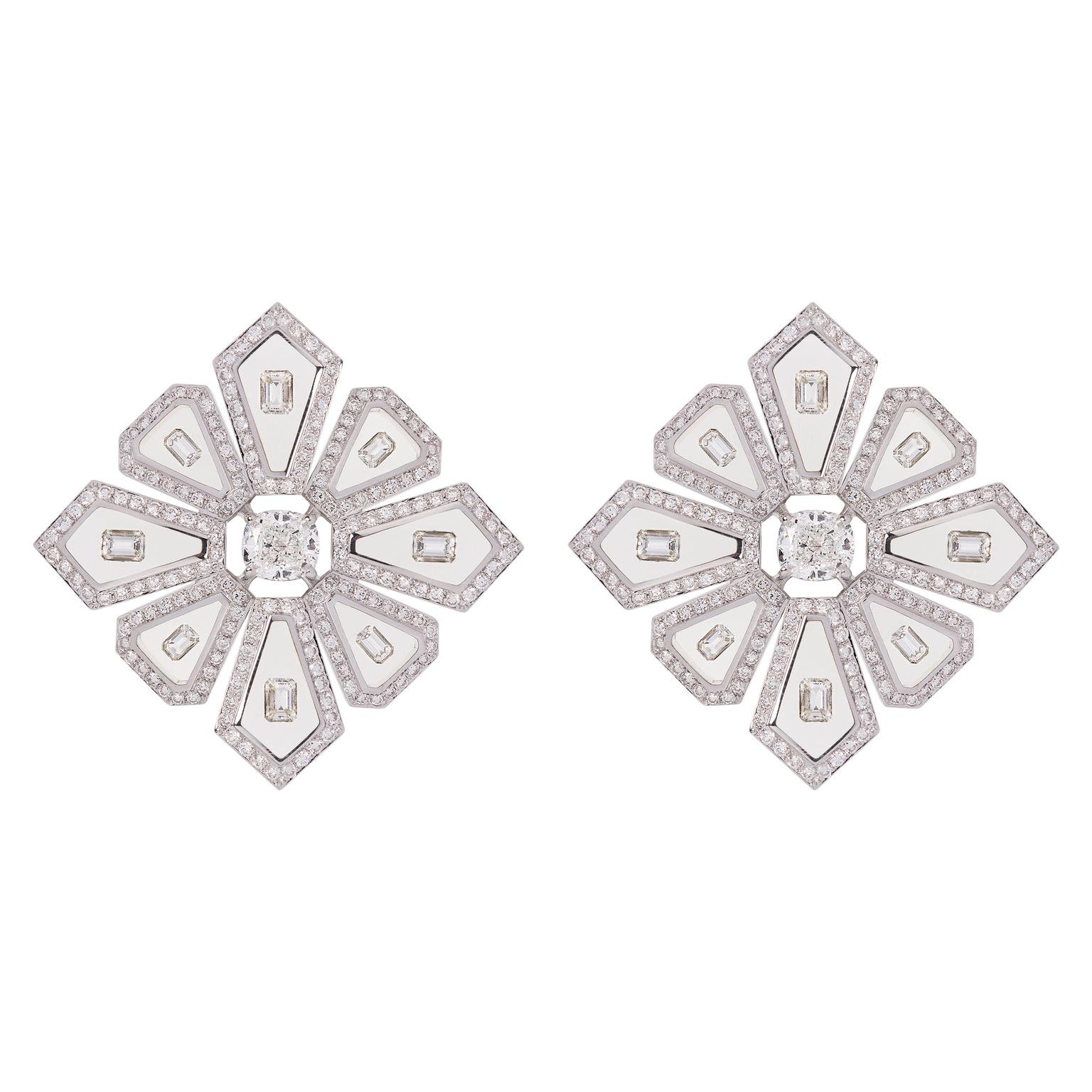 Nikos Koulis Universe collection diamond daisy earrings