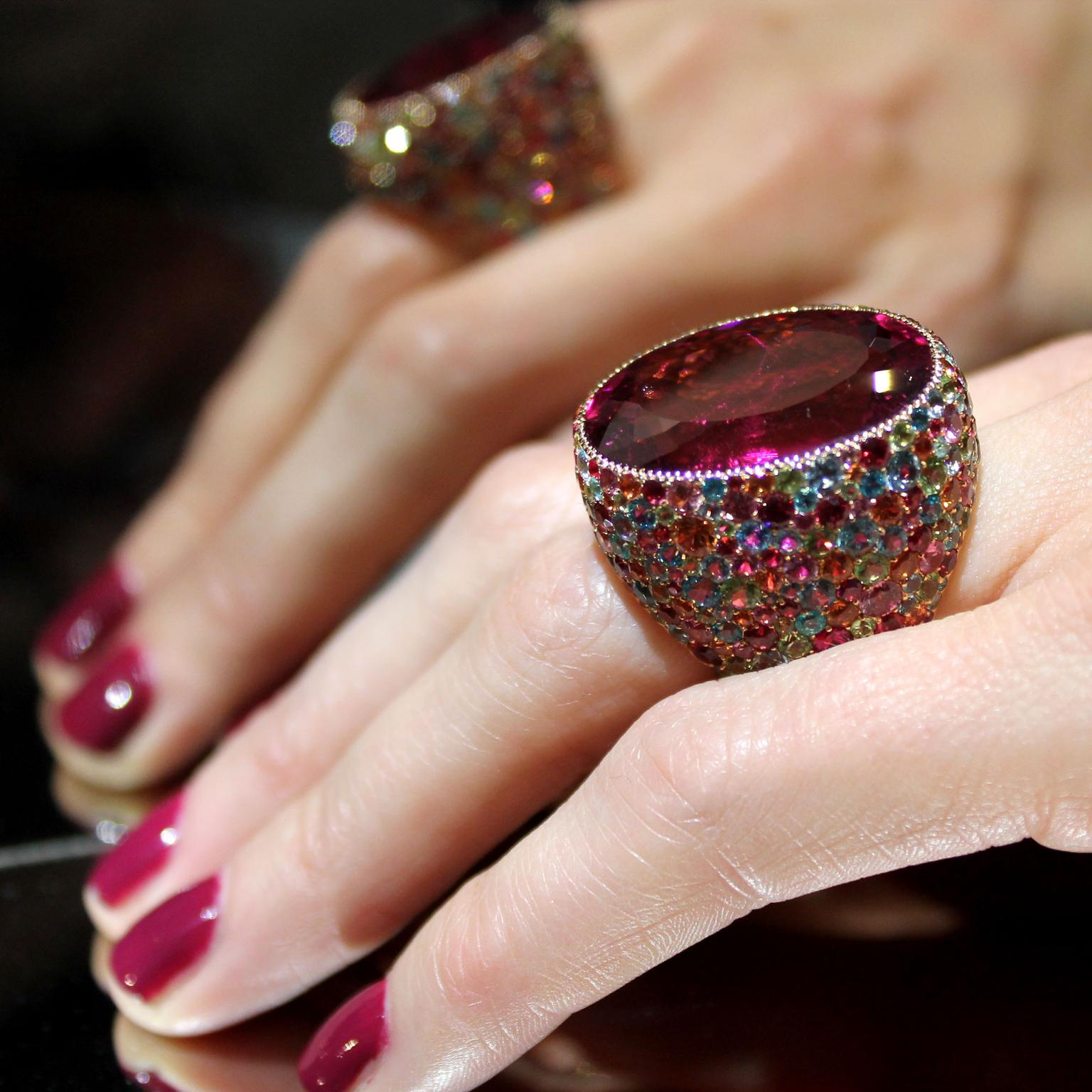 Lorenz Baumer Cardinale rubellite ring, seen at Paris Couture Week
