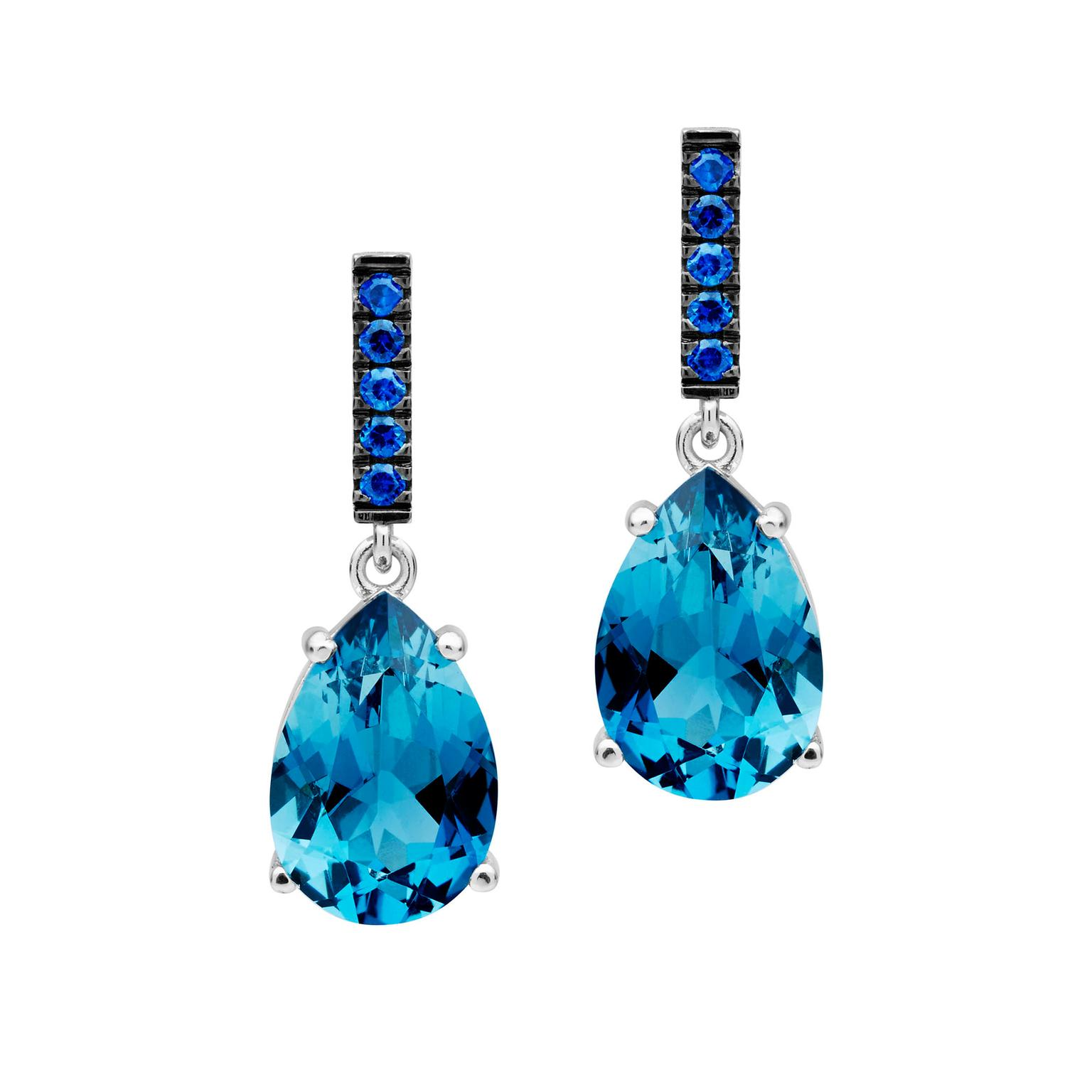 Jan Logan London blue topaz and sapphire Tivoli earrings