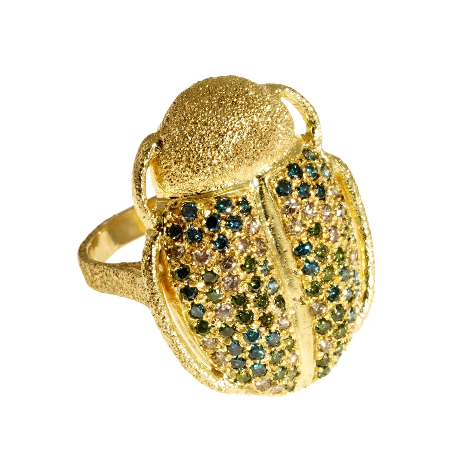 Carolina Bucci Scarab multicolour diamond ring