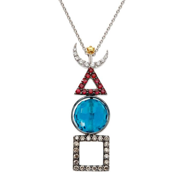 Bee Goddess diamond, ruby and topaz necklace