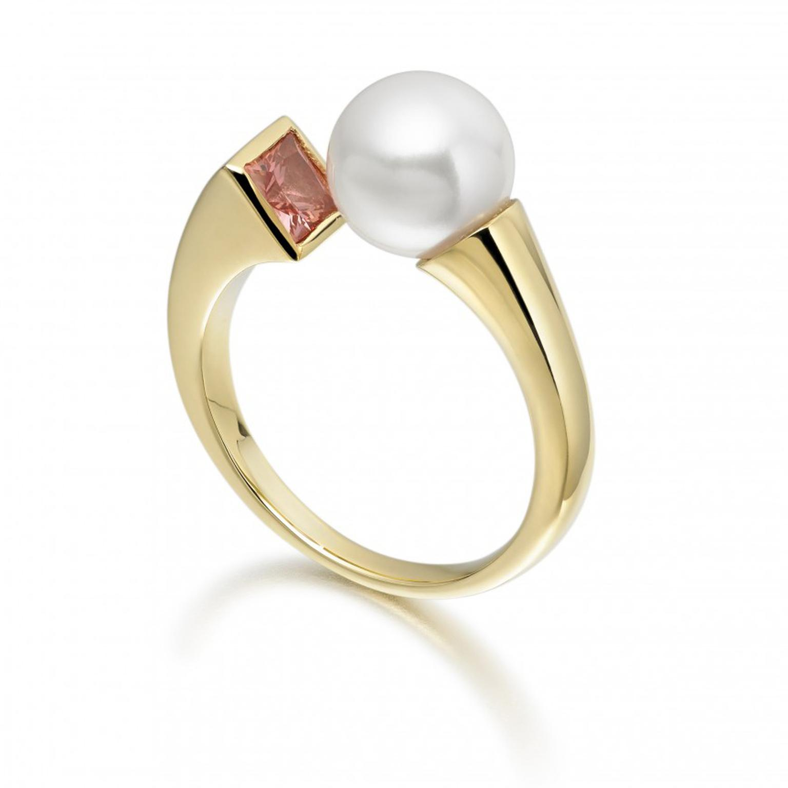 Winterson Amber Eclipse Akoya pearl ring