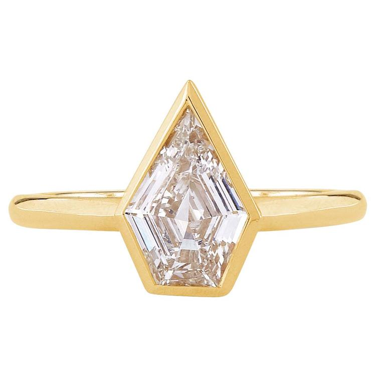 Gee Woods Artemis shield cut diamond engagement ring