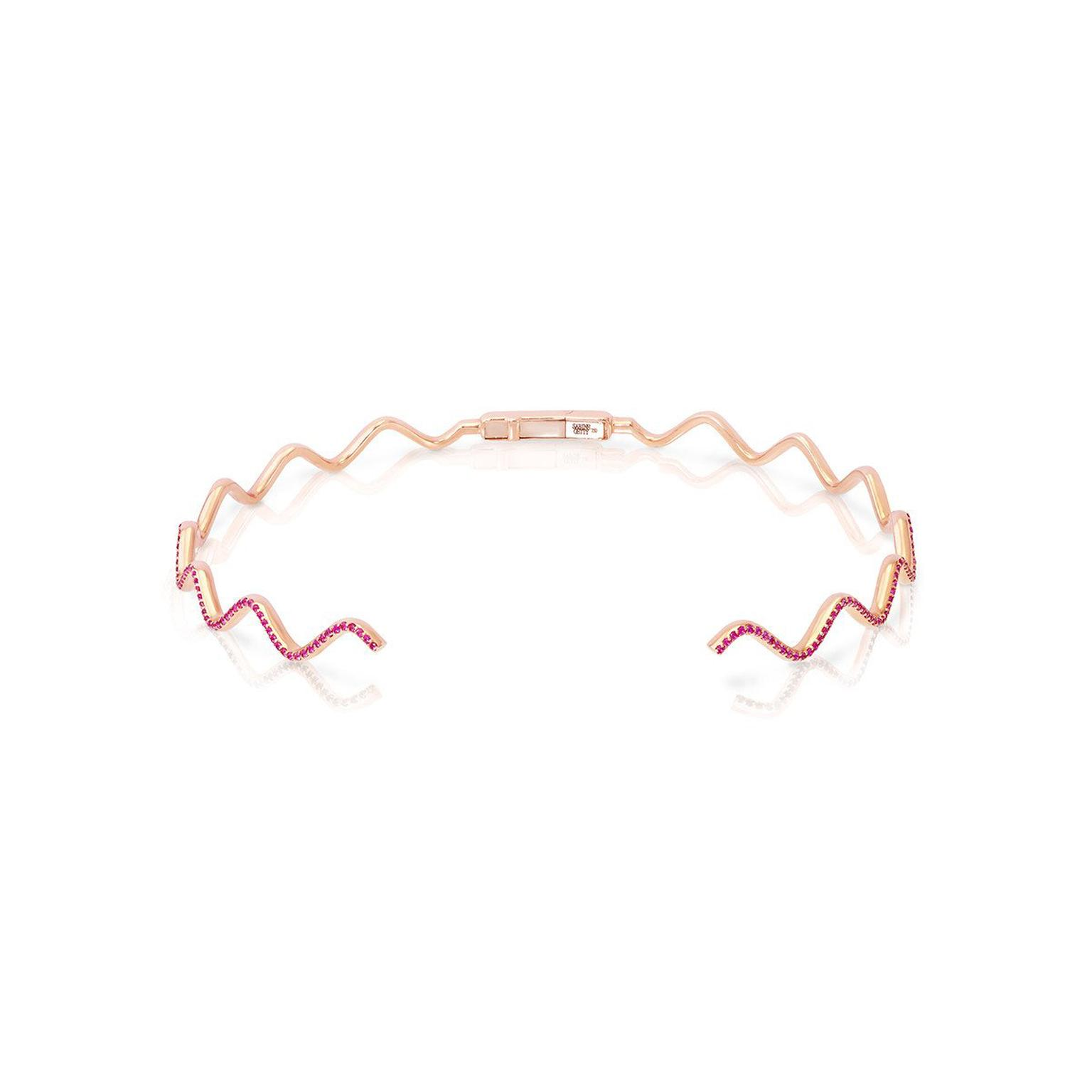 Sabine Getty Baby Memphis pink sapphire Wave choker in pink gold