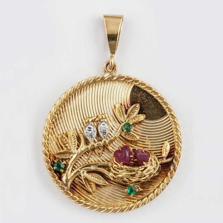 Inez Stodel gold pendant with diamonds and rubies