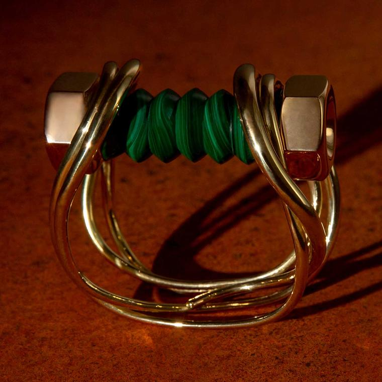 Hannah Martin New Act of Rebellion malachite and gold bolt bracelet