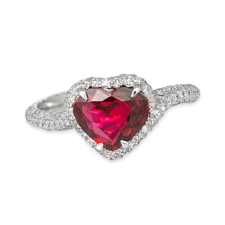 David Morris heart-shaped ruby and diamond ring