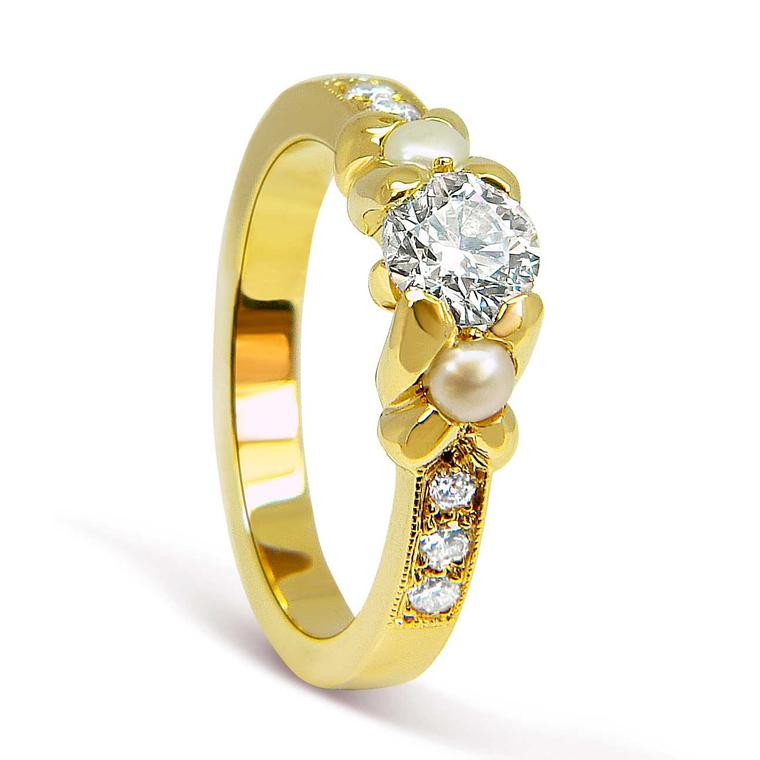 Arabel Lebrusan bespoke ethical pearl and diamond engagement ring in Fairtrade gold