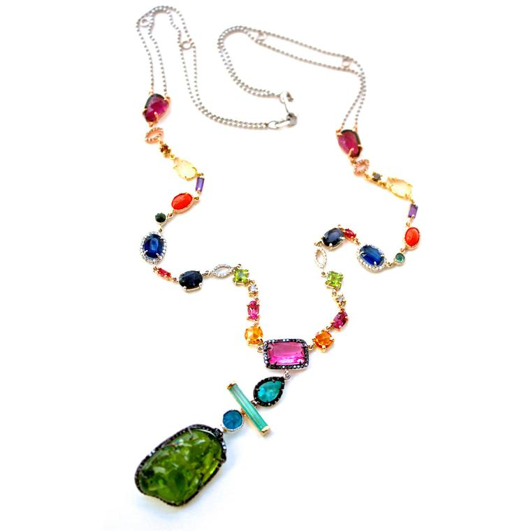 Sharon Khazzam Bessy multicolor and periodot necklace