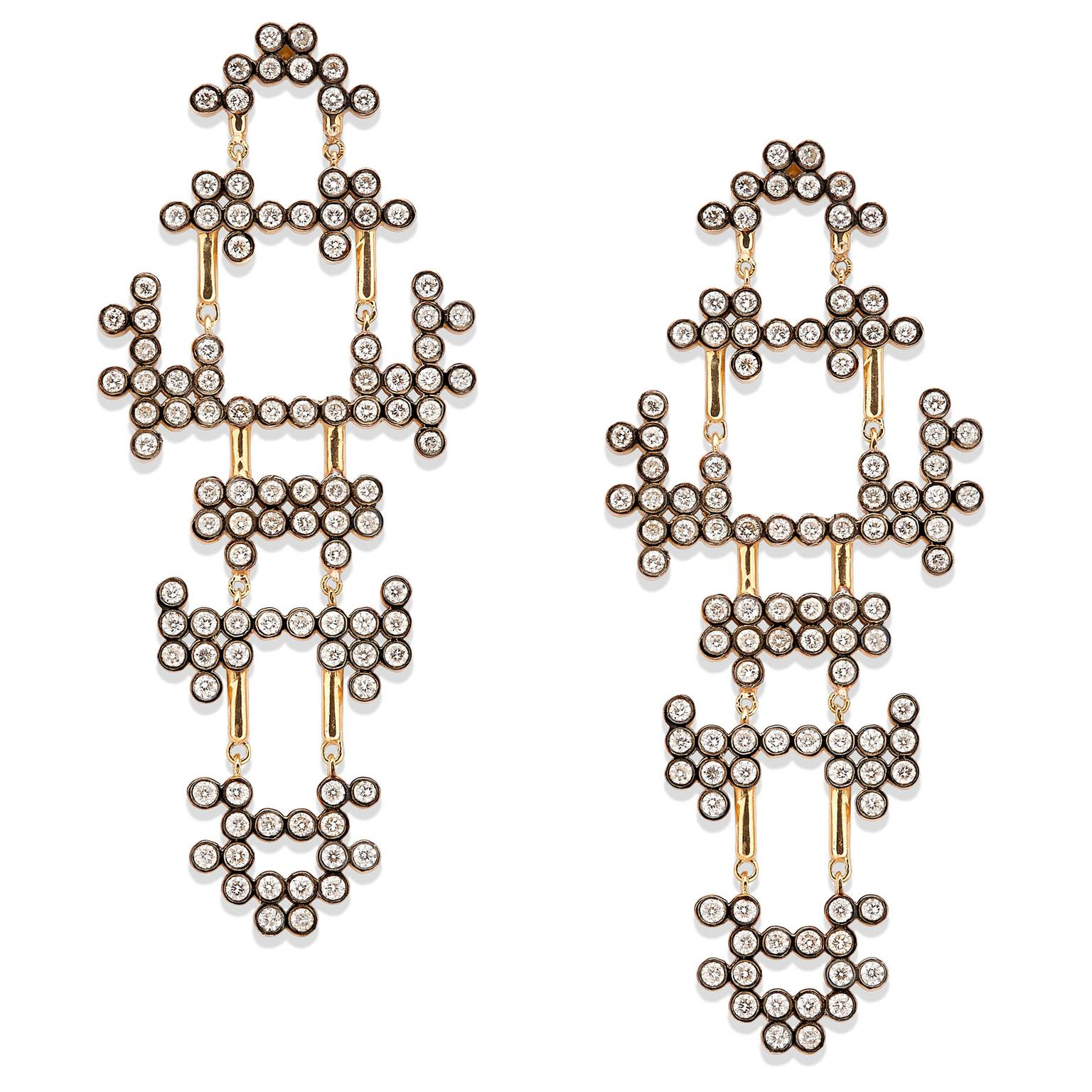 Yannis Sergakis Adornments yellow and blackened gold earrings with diamonds