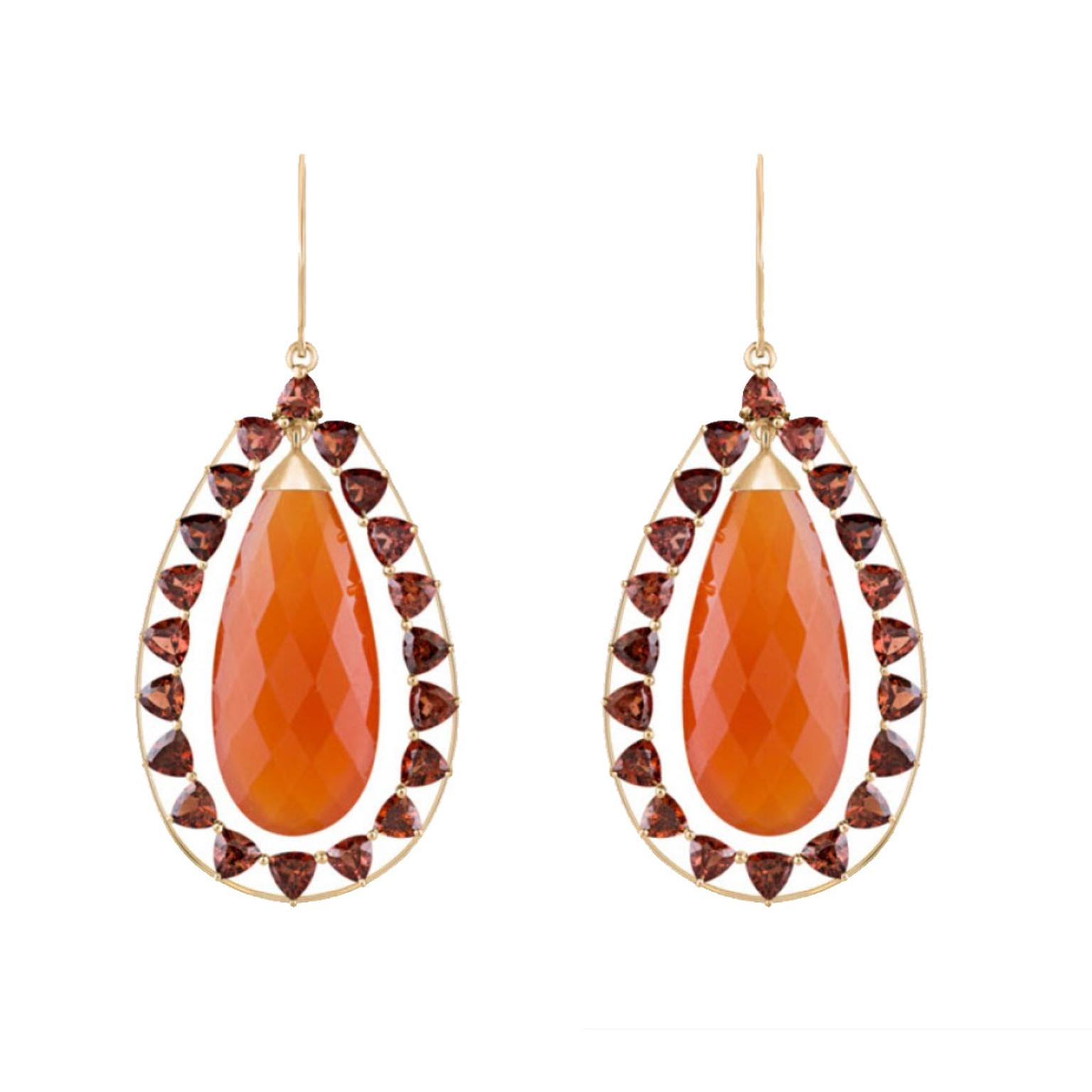 Arya Esha Briolette Carnelian earrings