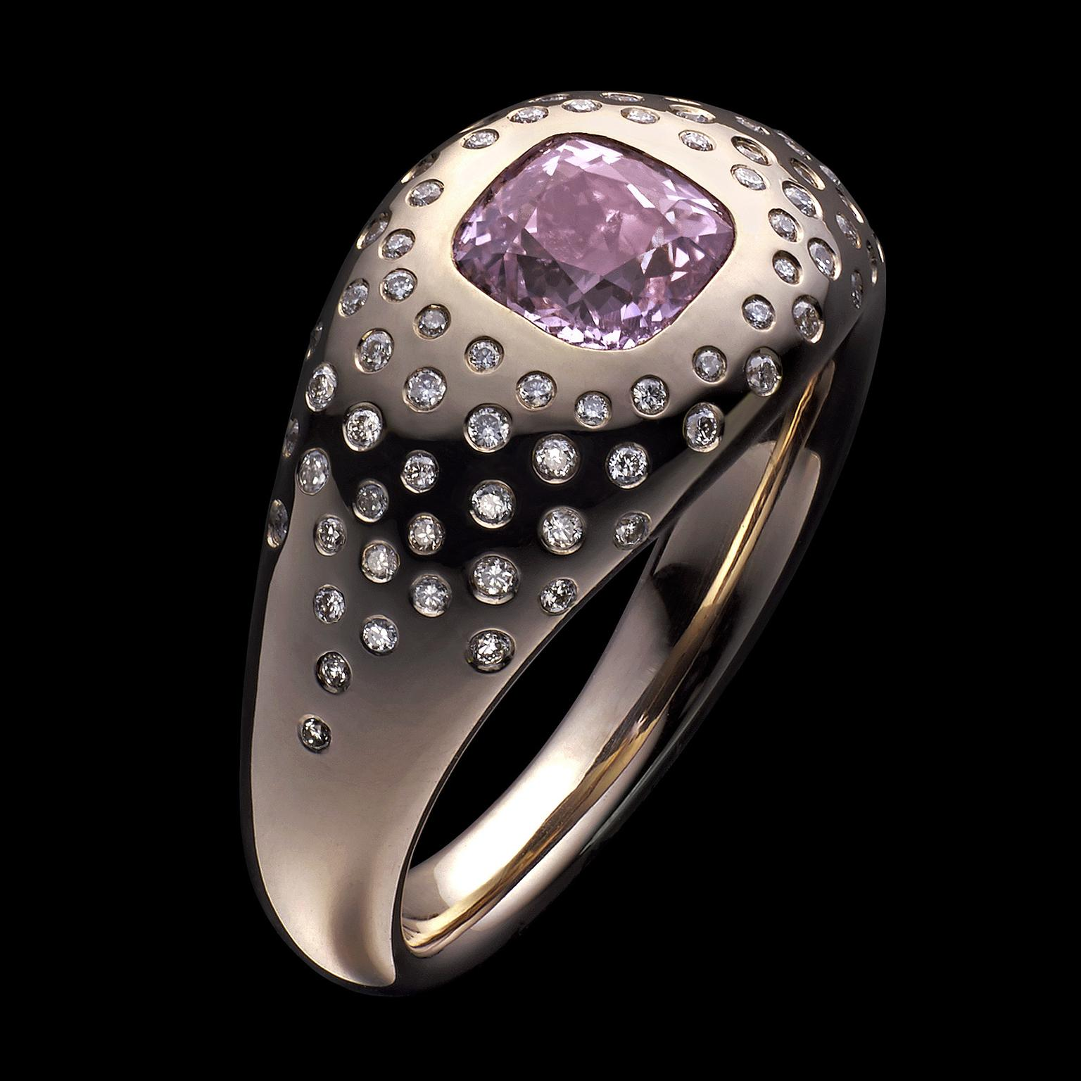 Ben Day Pink Sapphire and a disco ball of white diamonds