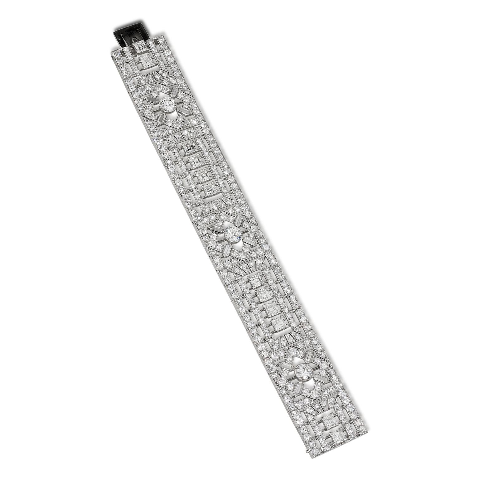 Stephen Russell Art Deco platinum diamond bracelet