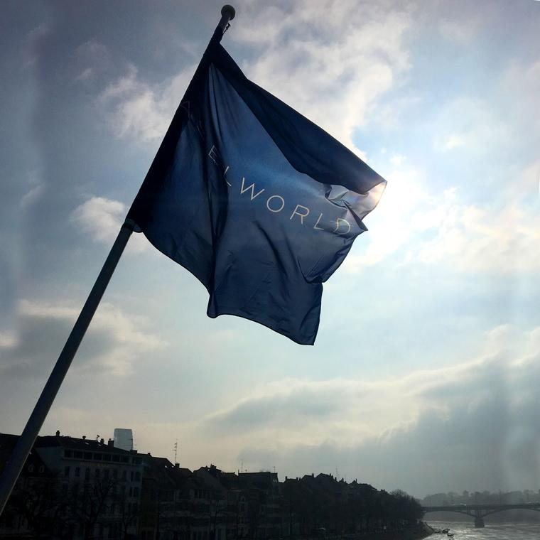 City of Basel with the Baselworld flag