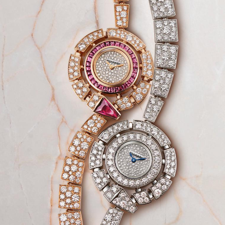 Bulgari Serpenti Incantation pink and white gold watches