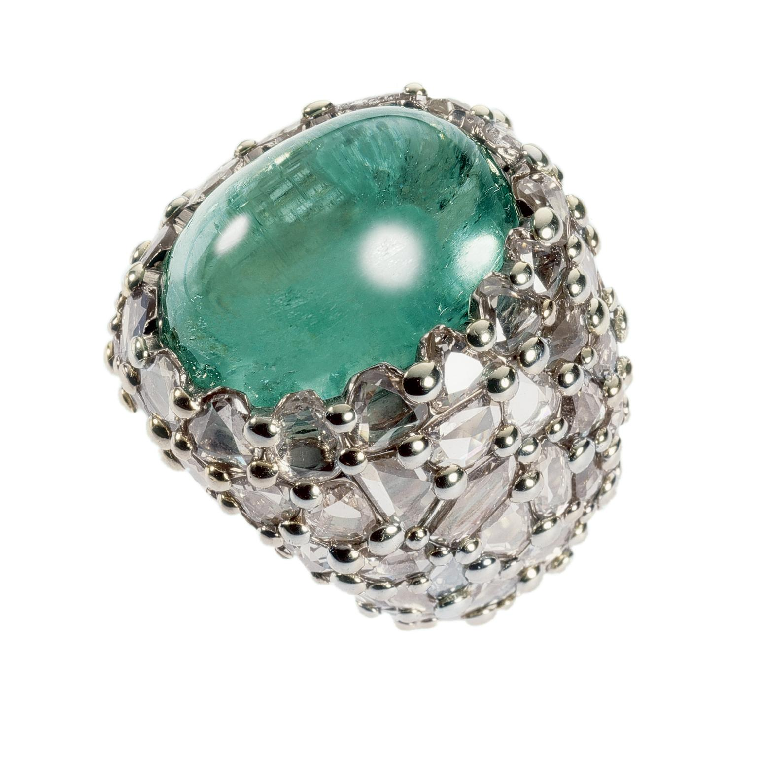 Pomellato Pom Pom London ring in white gold with beryl