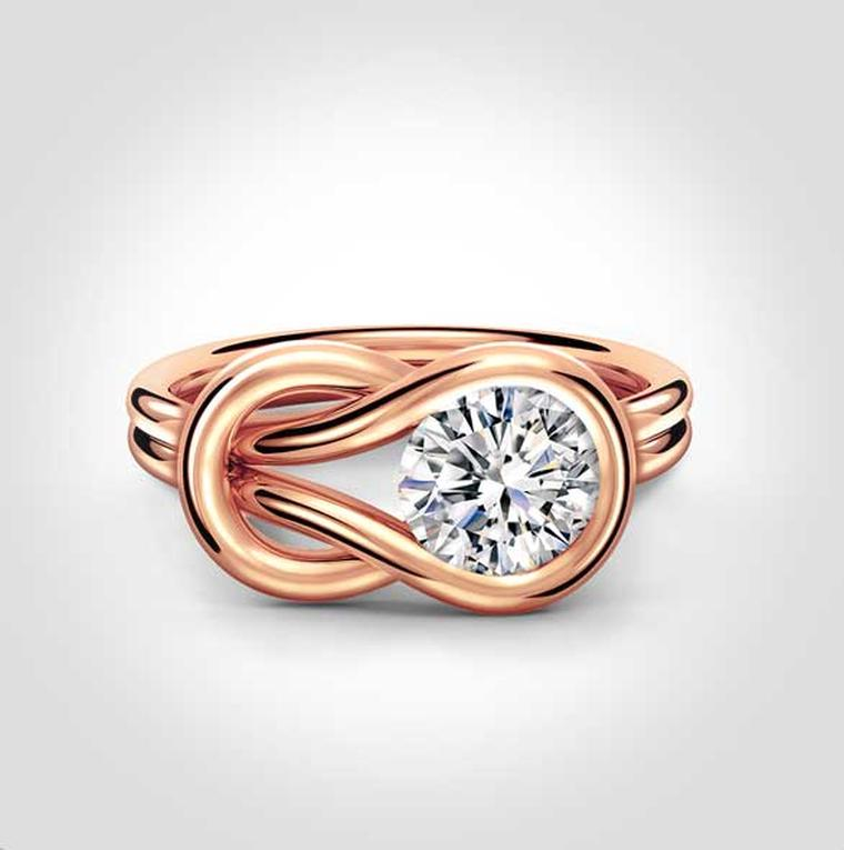 Forevermark Encordia solitaire diamond ring in rose gold