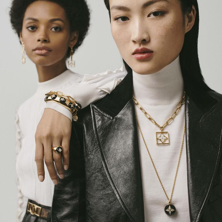 Louis Vuitton B.Blossom necklaces, ring, cuff and earrings on models