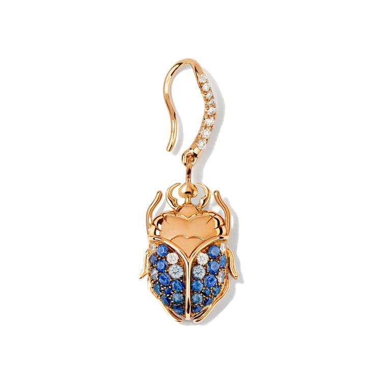 Scarab single earring with blue sapphires and diamonds