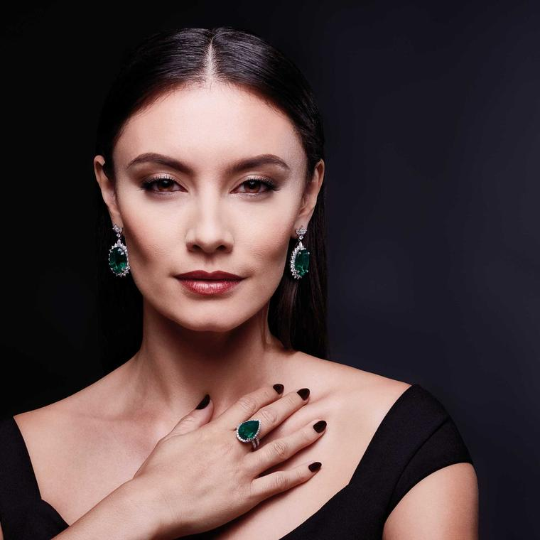 David Jerome Collection emerald and diamond-set earrings and ring