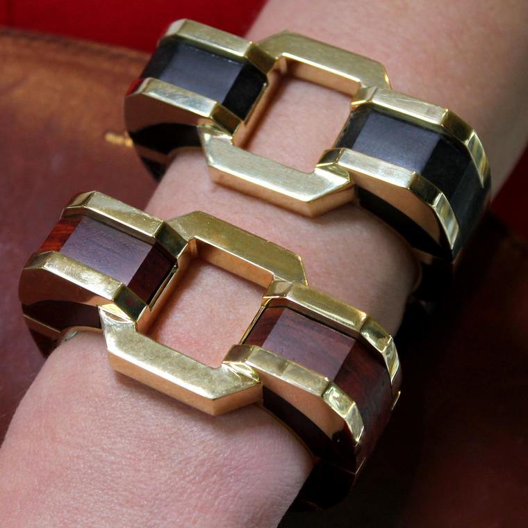 David Webb Woodwork ebony and gold bangles as seen at Las Vegas Couture 2017
