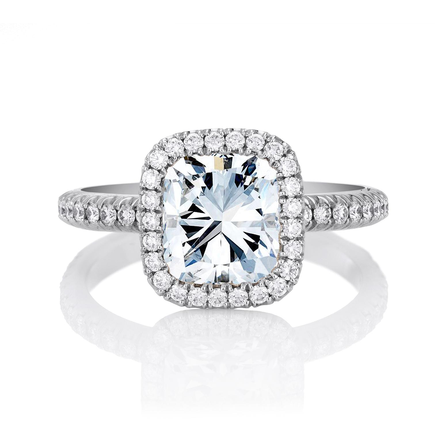 De Beers Aura cushion-cut solitaire diamond engagement ring in platinum