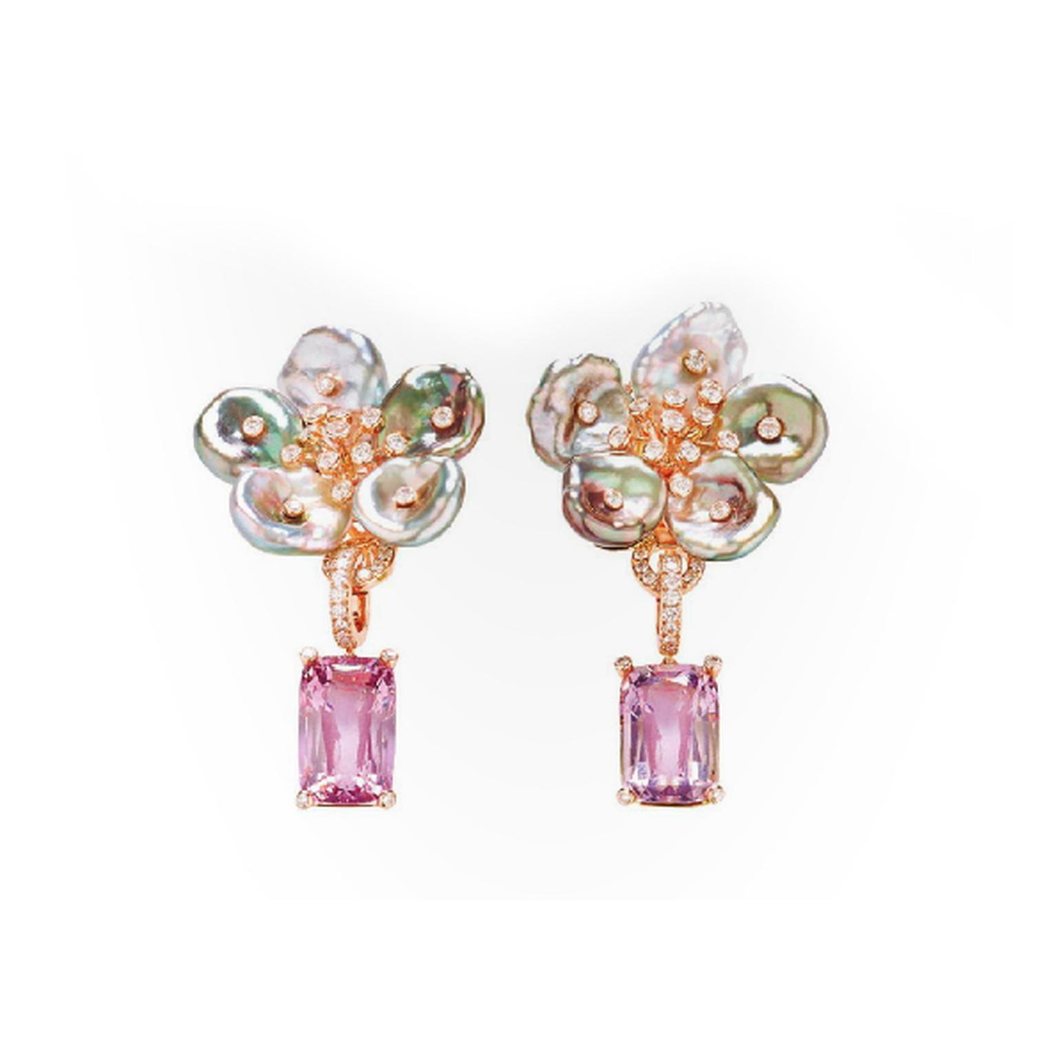 Margot McKinney Tahitian keshi pearl and diamond flower earrings with Lavender Champagne spinel drops