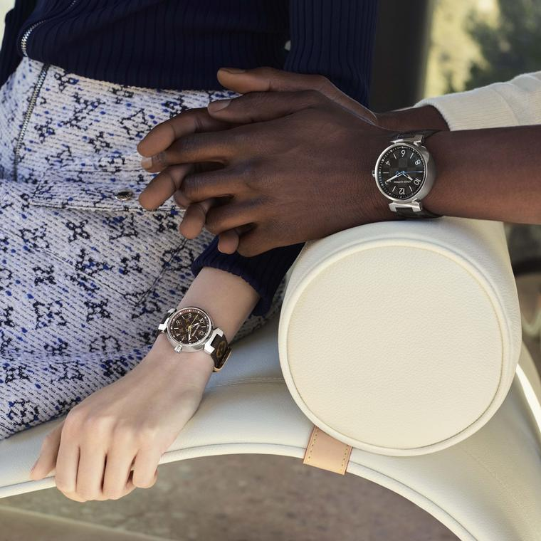 Louis Vuitton Icon Tambour Monogram and Damier watches on models