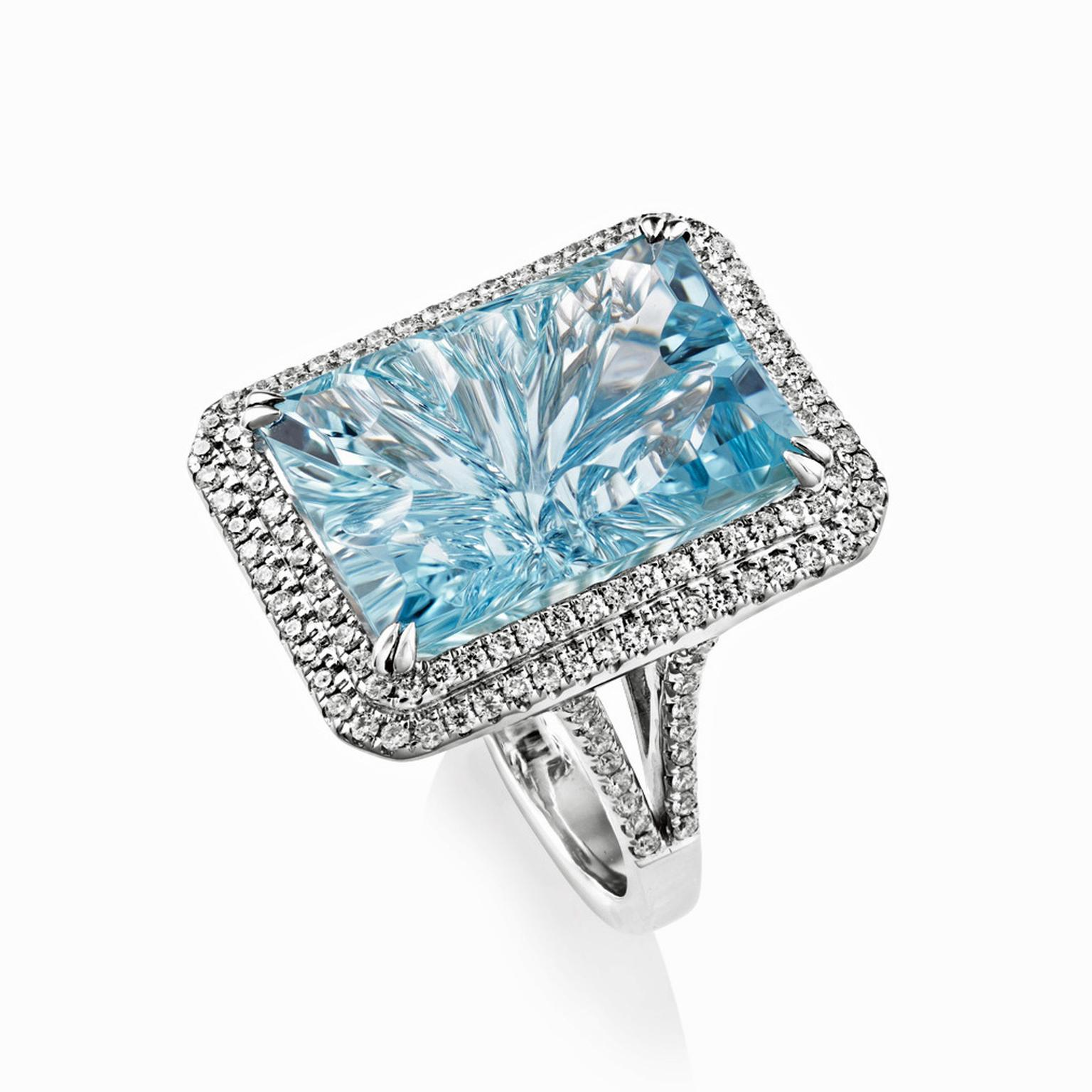Sheldon Bloomfield white gold, aquamarine and diamond cocktail ring