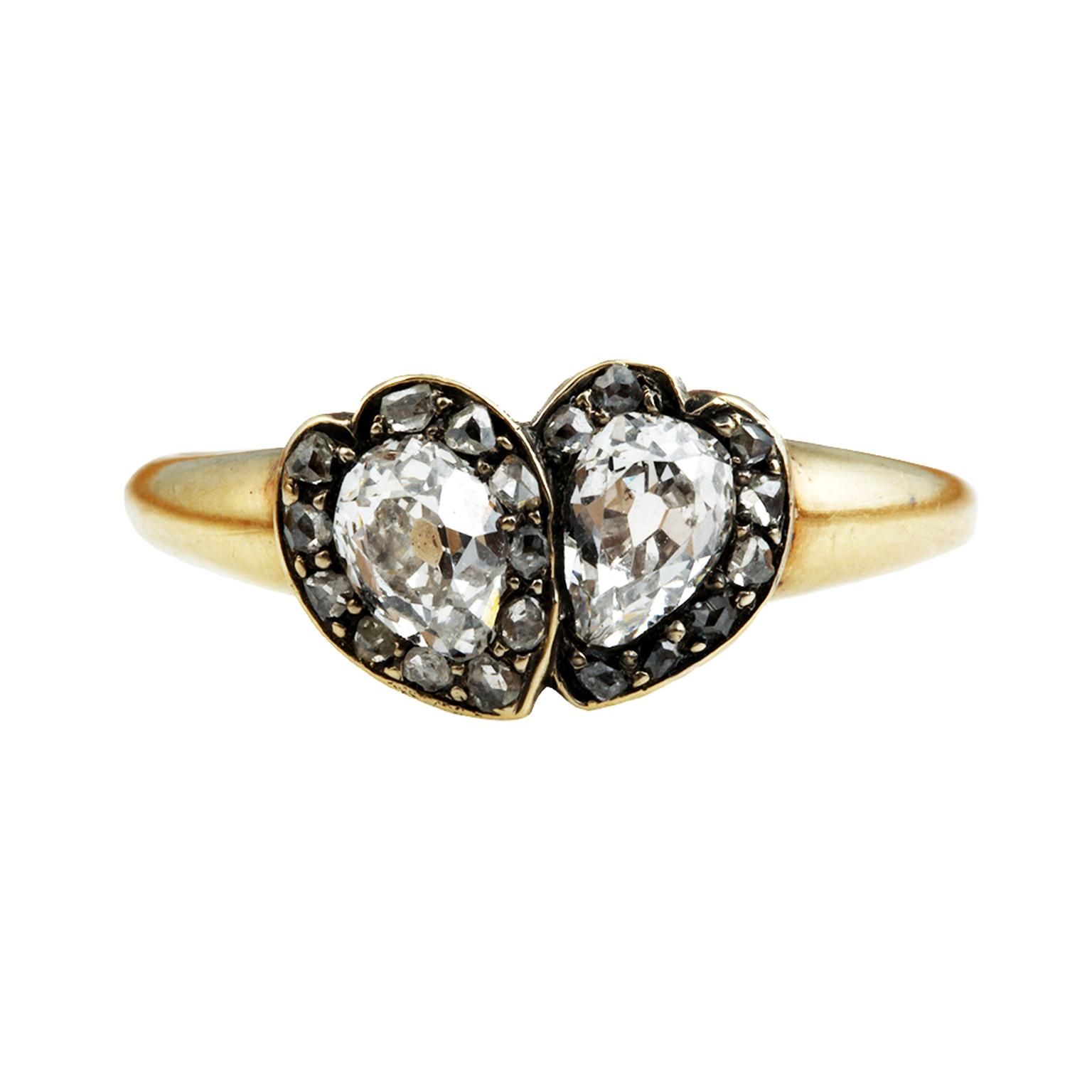Bell and Bird Diamond Twin Heart ring