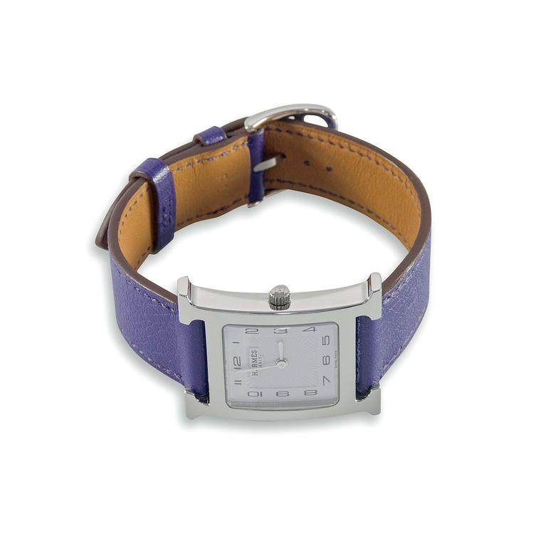 Paddle 8 Hermès Heure H MM watch with purple leather strap