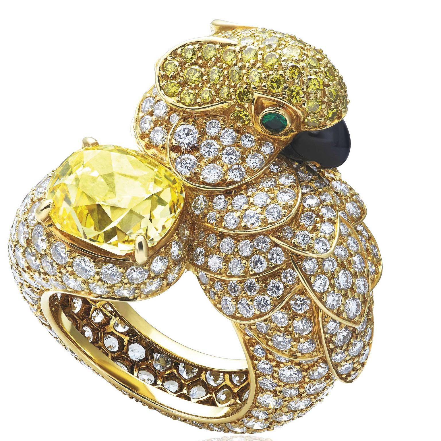 Cartier Les Oiseaux Libérés ring with yellow diamond