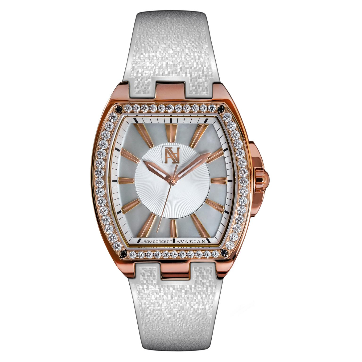 Avakian Lady Concept White watch with diamond bezel
